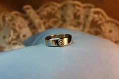 Wedding-ring, gold 14k/585. Diamond 0.10 ct W/Vs. Handmade by Goldsmith Sanna Hytönen, Suolahti, Finland.