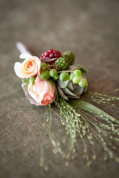 Valley Flora, Catherine Hall Photography - boutonniere with explosion grass, raspberries and spray roses