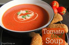 The perfect winter Tomato Basil Soup recipe!! This is my go-to for warming up after playing in the snow!