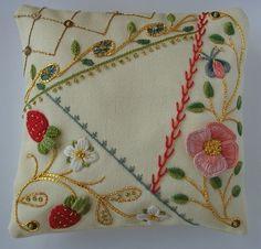 Embroidery with metallic and seed bead embellishing
