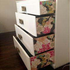 I love details!  -DIY WALLPAPER DRESSER bright & bold tutorial. Blogger tells you where she gets her inexpensive wallpaper samples for the side of the drawers & how she does the drawers themselves. Furniture makeover / redo