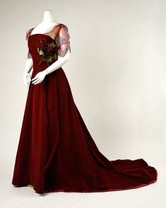 House of Worth (French, 1858–1956). Dress, Evening, 1898–1900. French. The Metropolitan Museum of Art, New York. Gift of Mrs. Henry H. Pease, 1940 (C.I.40.1.1a, b) #reddress
