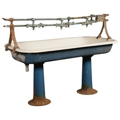 Vintage Industrial Double Pedestal Sink | From a unique collection of antique and modern bathroom fixtures at https://www.1stdibs.com/furniture/building-garden/bathroom-fixtures/