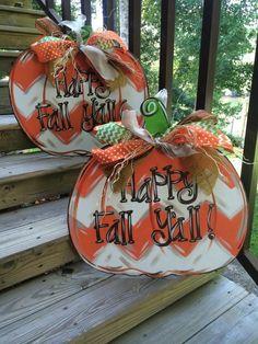 Autumn Chevron Pumpkin Wood Sign Decor - 2014 Thanksgiving Door Hanger #2014…