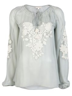 GOLD HAWK - Embroidered Floral Peasant Blouse