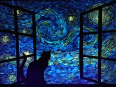 Starry Night style Glow in the Dark Cat sillouette Painting  This unique entrancing piece is painted with patience for the day time view, then painted again for a glowing night time scene. SIZE 18x24 is READY TO SHIP Other sizes made to Order.  Please allow 5-10 days for made to Order paintings to be completed before shipping.