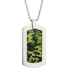 Mens Camo Jewelry - Men's Stainless Steel Green Camouflage Dog Tag Chain Available Exclusively at Gemologica.com