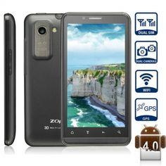 """4,3 pouces 4.3"""" ZOPO ZP200 + 3G Smartphone Téléphone portable 3D Android 4.0 Double Carte SIM écran QHD ASV MTK6577 HDMI 1080P GPS (Noir) - 7mall.fr"""