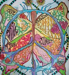 Beautiful peace butterfly hippie art design.