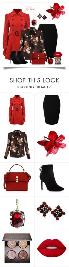 """""""Time for red..."""" by samra-dzabija ❤ liked on Polyvore featuring Jacques Vert, RED Valentino, Henri Bendel, Charles David, Satine, Laura Mercier and Lime Crime"""