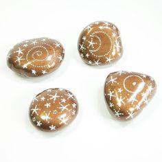 Set of 4 Hand Painted Decorative Stones  Bronze by Creativixen