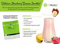 Delicious Strawberry Banana Smoothie  #healthy #health #fitness #fit #gym #recipes #workout #smoothie #profit #itworks #products #chocolate #vanilla #strawberry #banana  To get some of your ingredients please visit my link