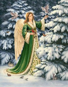 angel in green with birds & rabbits - Elizabeth Goodrick-Dillon Irish Christmas, Very Merry Christmas, Christmas Pictures, Christmas Angels, Christmas And New Year, Christmas Themes, Vintage Christmas, Father Christmas, Angels Beauty