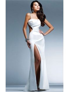 Amazing White Sheath Floor-length Spaghetti Straps Dress