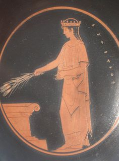 Demeter sacrificing grain at the altar on vaze figure, National Archaeological Museum Athens