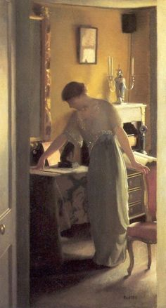 """books0977: """"The Other Room (1916). William MacGregor Paxton (American, 1869-1941). Oil on canvas. El Paso Museum of Art. In 'the other room' permeated by soft light, a dreamy atmosphere, and the sounds of silence, an elegant woman passes the time by..."""