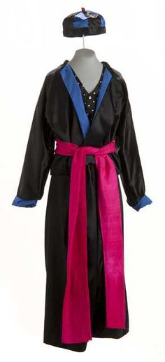 Color image of a Man's Hmong New Year outfit worn by Doua Cheng, c.1999. Photo: Minnesota Historical Society