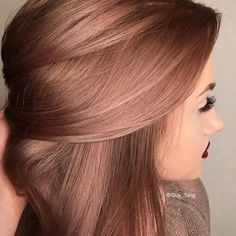 metallic bronze ash pink hair