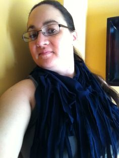 Navy blue recycled tshirt infinity fashion scarf by 3colon7, $10.00