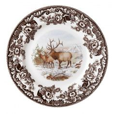 Spode Woodland Winter Scenes Dinner Plate (Elk) - Woodland - Collections - Spode USA