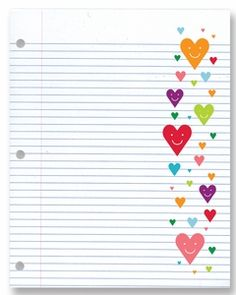 Happy Heart College Ruled Notebook Paper450