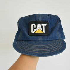 Denim Snap Back Cap CAT Caterpillar INC Trucker's Cap Flat Brim 1980's Great Condition Front Cat Tonkin Patch