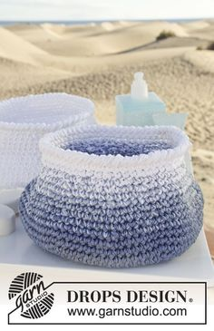"Add some handles and you have the perfect beach bag! Crochet DROPS basket in 3 strands ""Muskat"". ~ DROPS Design.  ☀CQ #crochet #bags #totes  http://www.pinterest.com/CoronaQueen/crochet-bags-totes-purses-cases-etc-corona/"