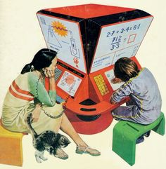 Featured in the 1981 book, School, Work and Play (World of Tomorrow), this Homework Machine featured computer technology that would make games out of homework problems and would be able to accommodate several students of varying grade levels at one time.