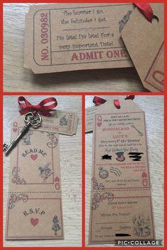 Alice in Wonderland/Mad Hatter's Tea Party luggage label/key invitation
