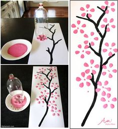 Dibujando hermosos cerezos en flor gracias a una botella de plástico Art For Kids, Art Crafts, Baby Showers, Cherry Blossom Painting, Cherry Blossom Drawing, Flower Doodles, Bathroom Sets, How To Make, Diy