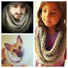 Finger-knit scarf I made - two reluctant models and one very willing pup!    This photo is from a personal Instagram Gallery. Check them all out on http://my.ink361.com/tostina