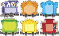 Tren de colores para recortar y pegar fotografías para escuela de preescolar