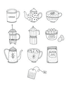 Ryn Frank is a freelance illustrator, specialising in hand drawn illustrations. Coffee Illustration, Illustration Art, Sketch Note, Up Book, Bullet Journal Ideas Pages, Colouring Pages, Doodle Art, Cute Drawings, Line Art