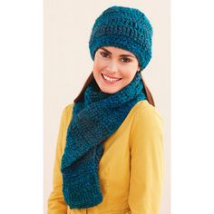 Lion Brand® Homespun® Ridged Hat and Scarf (Crochet) to keep warm and cozy this fall and winter