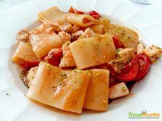Calamarata con pesce spada e pistacchi su crema di melanzane  #ricette #food #recipes