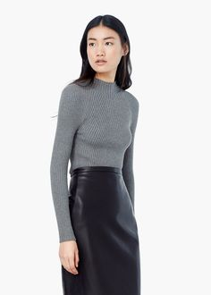 Stand-collar sweater - Cardigans and sweaters for Women | MANGO