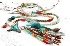 Charm- & Bettelketten - lange Kette ✿ lässig Boho Hippie ✿ tolle Farben - ein Designerstück von Lunas-SchmuckART bei DaWanda