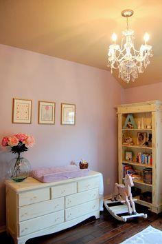 Shabby chic baby girl nursery - Love the colors and the chandelier!
