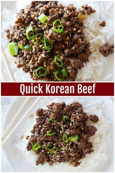 Korean Beef and Rice is a family favorite that comes together in less than 20 minutes and tastes better than take out. Enjoy ground beef browned to perfection with a delicious homemade sauce that makes the best meal! via Quick Korean Beef and Rice Recipe Korean Beef And Rice Recipe, Korean Beef Recipes, Best Beef Recipes, Rice Recipes, Healthy Recipes, Korean Beef Bowl, Korean Rice, Asian Beef, Korean Beef Tacos