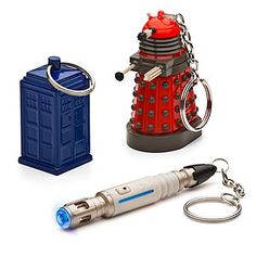 Doctor Who key chains! The Darlek and sonic screwdriver are a flashlight and the tardis is a money holder! WANT