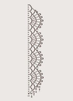 Crochet Patterns Lace Springtime Crocheted Accent Pillow ['Crochet chart lace edging by via F… Crochet Boarders, Crochet Edging Patterns, Crochet Lace Edging, Crochet Diagram, Crochet Chart, Thread Crochet, Crochet Trim, Crochet Designs, Crochet Tutorials