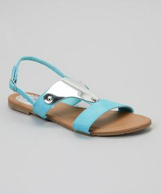 Look what I found on #zulily! Sky Blue Metal Embellished Sandal by Tory Klein #zulilyfinds