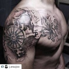 50 world map tattoo designs for men adventure the globe afbeeldingsresultaat voor sailor compass anchor tattoos gumiabroncs Choice Image