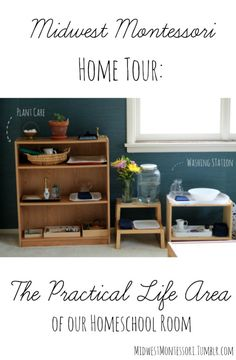 The practical life shelf in a Montessori homeschool room. Practical life is a huge part of the Montessori preschool curriculum. Montessori Bedroom, Montessori Homeschool, Montessori Practical Life, Montessori Classroom, Montessori Toddler, Montessori Activities, Homeschooling, Preschool Curriculum, Toddler Activities