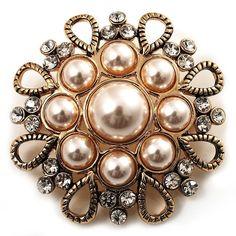 Vintage Wedding Imitation Pearl Crystal Brooch (Burn Gold Tone) - CK114H744CJ - Brooches & Pins  #jewellrix #Brooches #Pins #jewelry #fashionstyle