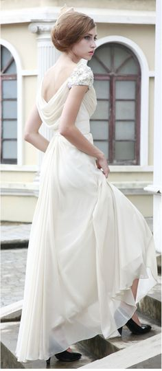 White chiffon wedding dress/ party dress -ZZKKO