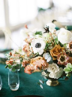 Copper, White, Black Intimate Wedding Party - compote centerpiece with anemones, cappuccino roses, ranunculus and cosmos. Photos by Angela Elise Photography Candle Wedding Centerpieces, Wedding Vases, Floral Centerpieces, Rose Wedding, Floral Wedding, Wedding Flowers, White Ranunculus, Anemones, White Roses