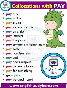 Collocations in English PAY - English Study Here Advanced English Vocabulary, English Speaking Skills, English Writing Skills, English Vocabulary Words, Learn English Words, English Study, English Lessons, English Phonics, Teaching English Grammar