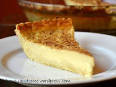 Custard Pie, with lots of nutmeg on it.
