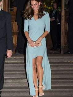 Kate Middleton wears a blue Jenny Packham dress to The Wildlife Photographer of the Year Awards, London, October 2014.